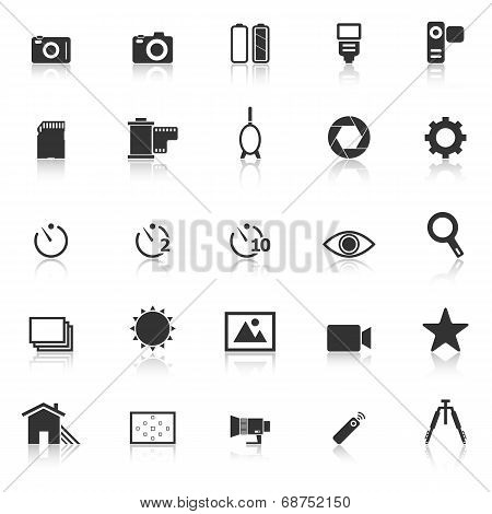 Camera Icons With Reflect On White Background