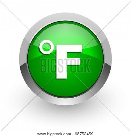 fahrenheit green glossy web icon