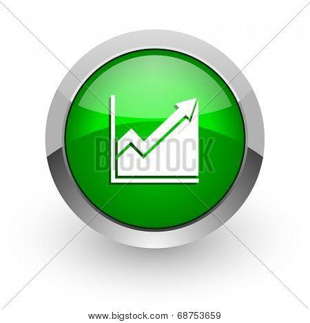 histogram green glossy web icon