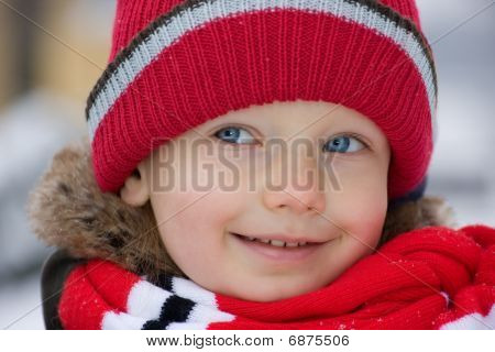 Winter Portrait Of Little Boy