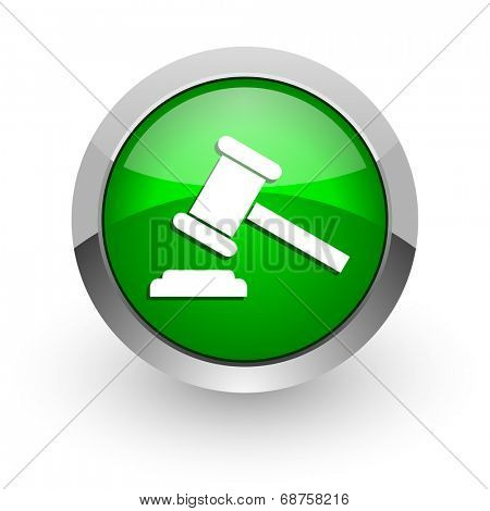 auction green glossy web icon