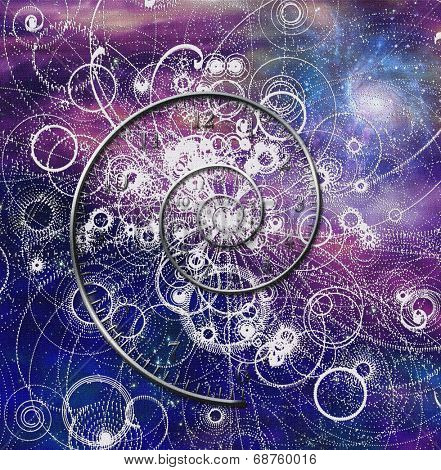 Spiral time and quantum particles in space Elements of this image furnished by NASA