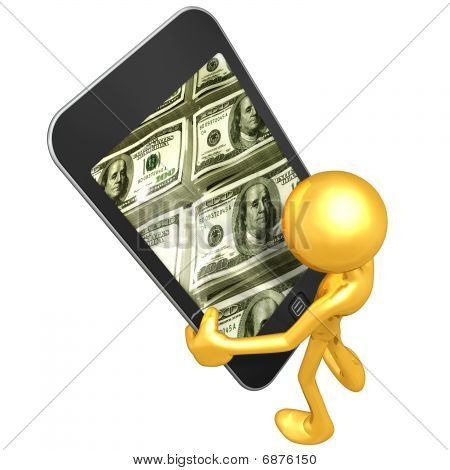 Gold Guy Holding Touch Screen Device