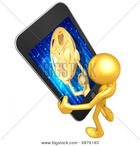 Gold Guy Holding Touch Screen Device Entertainment