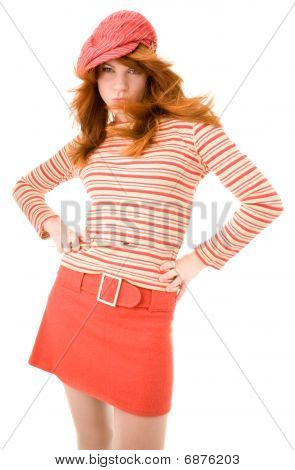 Red Haired Girl With Brush Posing