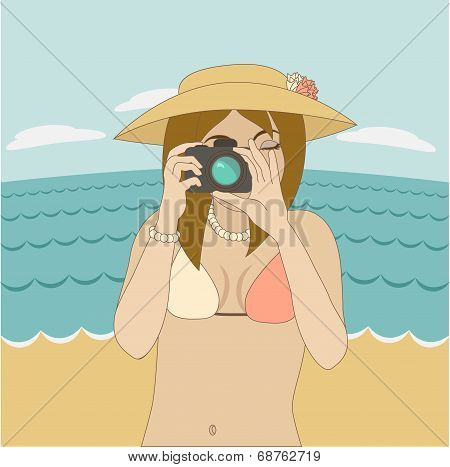 Photographer Girl Clicking On Camera's Button At The Beach.