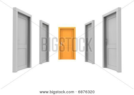 Wählen Sie die orange Tür