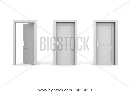 Three Grey Doors - Two Closed, The Left One Open