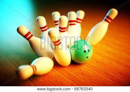 image of bowling scene with vivid background