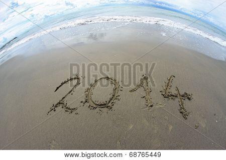 2014 Year Written On The Sea Beach 2