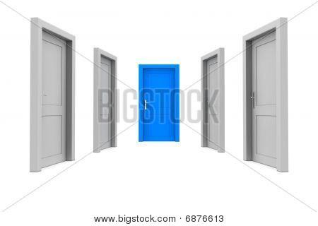 Wählen Sie die blaue Tür