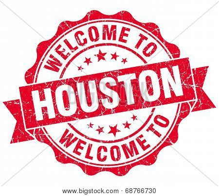 Welcome To Houston Red Vintage Isolated Seal