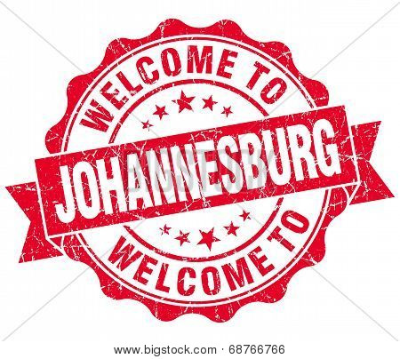 Welcome To Johannesburg Red Vintage Isolated Seal