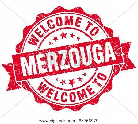 Welcome To Merzouga Red Vintage Isolated Seal