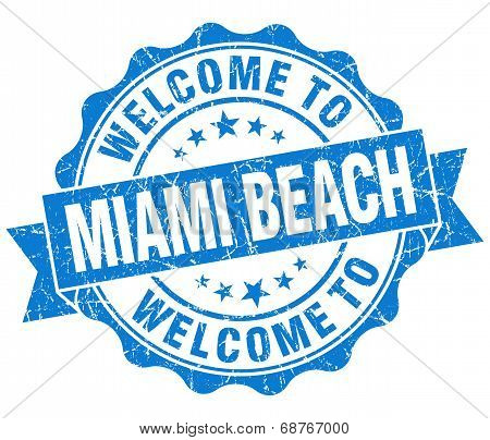Welcome To Miami Beach Blue Vintage Isolated Seal