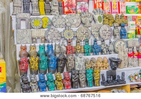 LA PAZ, BOLIVIA, MAY 8, 2014 - Display of amulets and aphrodisiacs on outdoor stall, Witches Market