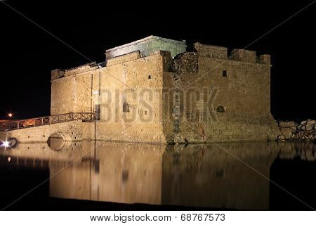Paphos Castle at night, Cyprus