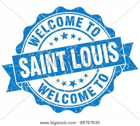 Welcome To Saint Louis Blue Vintage Isolated Seal