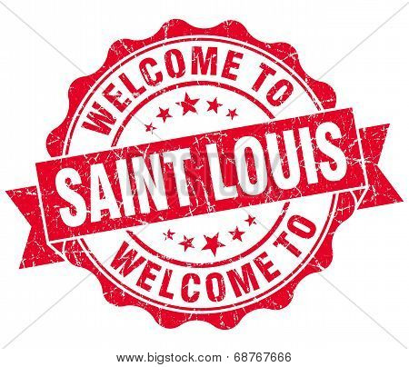 Welcome To Saint Louis Red Vintage Isolated Seal