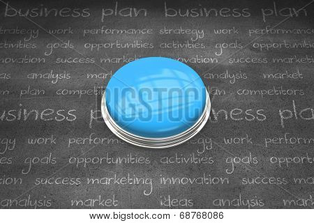 Shiny blue push button against black wall
