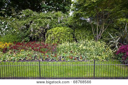 Flower bed and grass behind small fence
