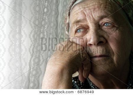 Sad Lonely Pensive Old Senior Woman