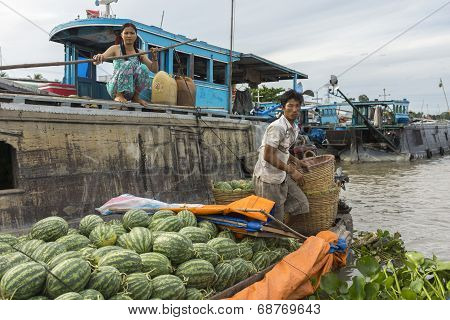 Retailer With Water Melons Meets Wholesaler.