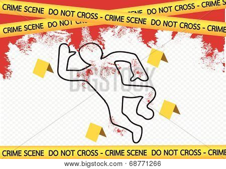 Crime scene danger tapes illustration