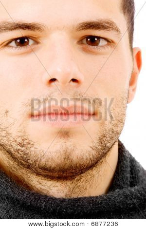 Close Up Portrait Of A Handsome Young Man, Isolated On White Background