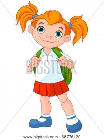 Schoolgirl ready go to school