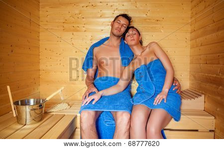 relaxing spa couple in finland