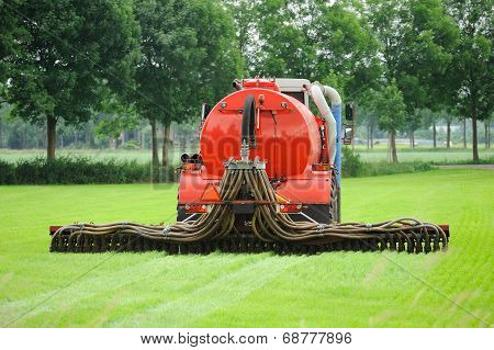 Injection Of Manure In A Pasture