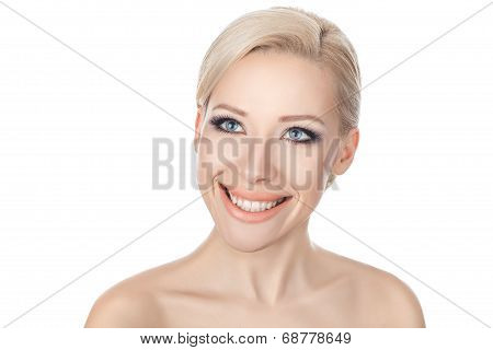 Close-up Portraits Of The Smiling Blonde.