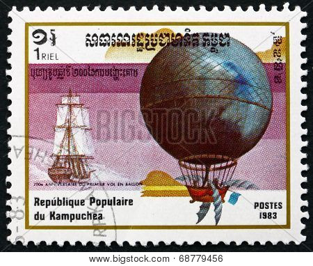 Postage Stamp Cambodia 1983 Blanchard And Jeffries, Hot Air Ball