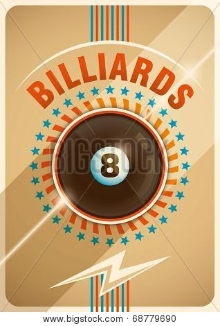 Conceptual billiards poster design. Vector illustration.