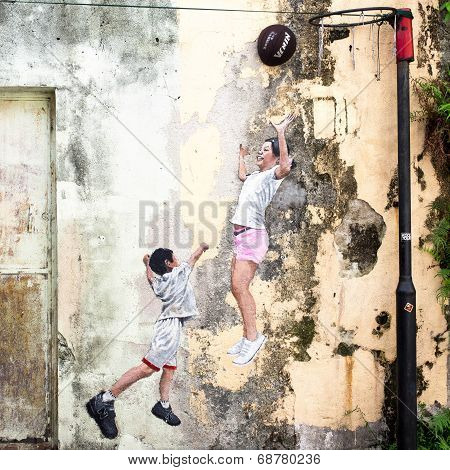 Children Playing Basketball Street Art Piece In Georgetown, Penang, Malaysia
