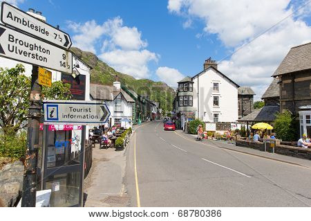 Coniston town Lake District England with hot sunny summer weather
