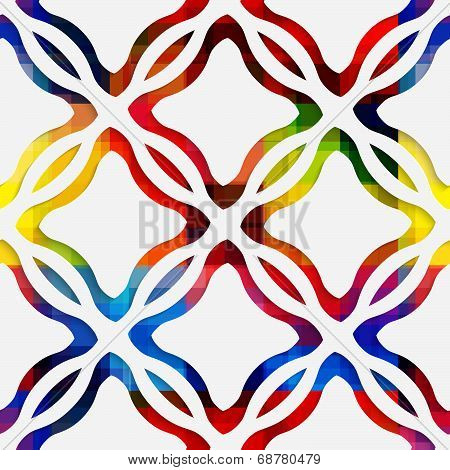 White Wavy Rectangles And White Net On Rainbow Seamless Pattern