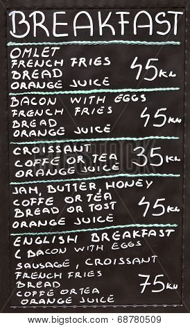 Croatian Street Cafe Breakfast Menu