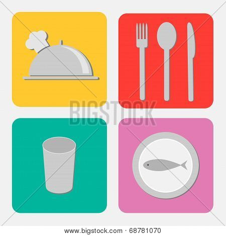Silver Platter Cloche, Fork, Spoon, Knife, Glass And Plate With Fish. Flat Design Icon Set.