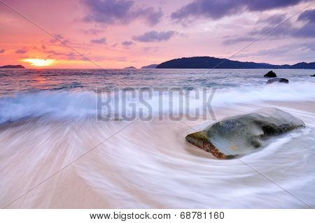 Sunset, Waves and Beach
