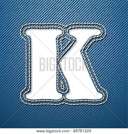 Denim jeans letter K - vector illustration