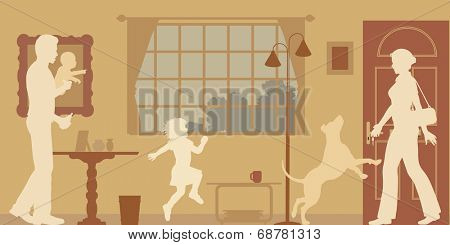 Editable vector silhouettes of a woman welcomed home by husband, children and dog