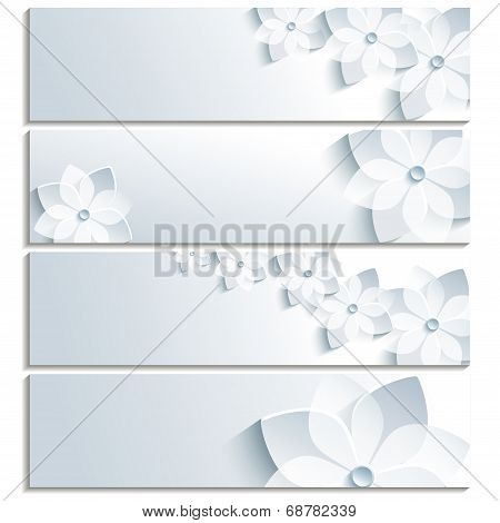 Set Of Horizontal Banners With Blossoming Sakura
