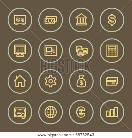 Money web icons set, coffee series