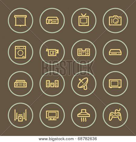 Home appliances web icons set, coffee series
