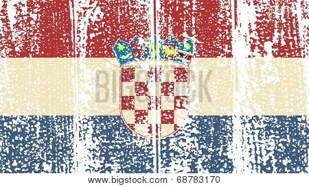 Croatian grunge flag. Vector illustration.