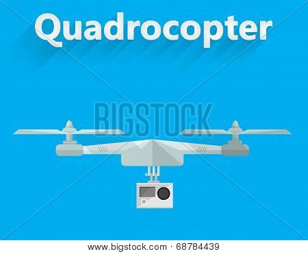 Flat vector illustration of quadrocopter