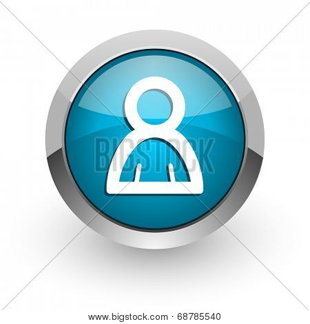 person blue glossy web icon