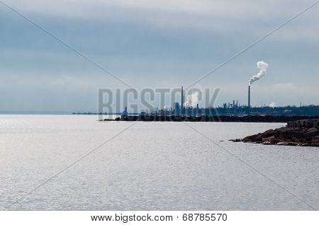 Industrial Area On Lake Shore.